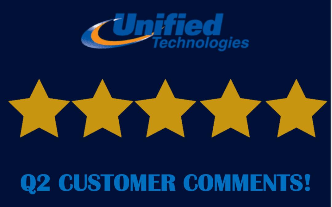 Customer Comments – Q2, 2021