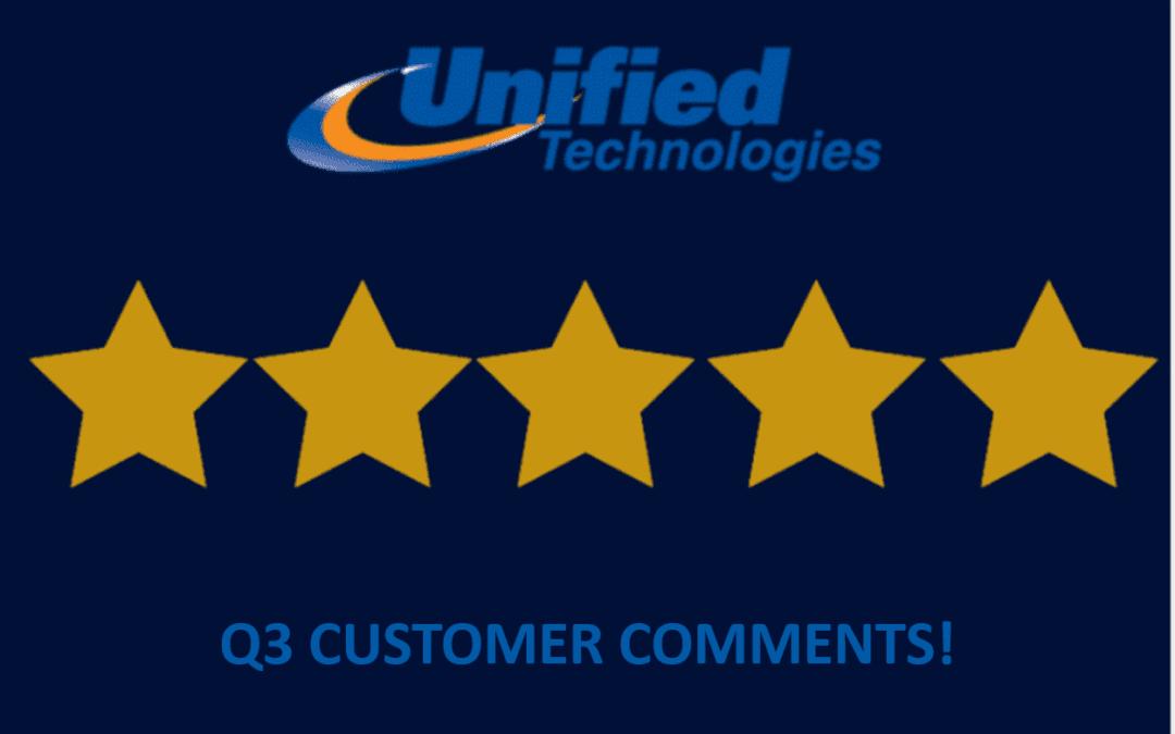 Customer Comments – Q3, 2021